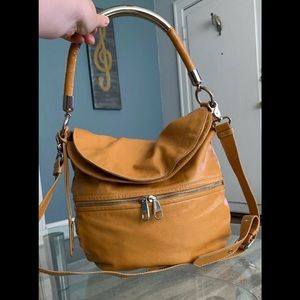 Badgley Mischka Caramel Brown Leather Crossbody